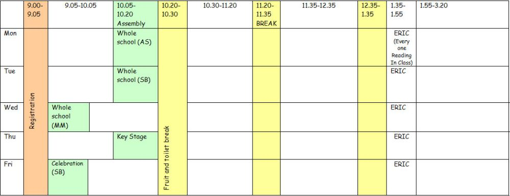 School Day Timetable